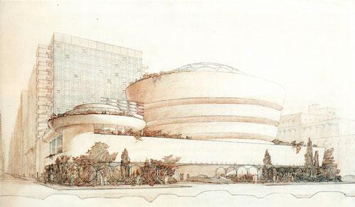 Рисунок Музея Гуггенхайма выполненный вручную  Фрэнком Ллойд Райтом