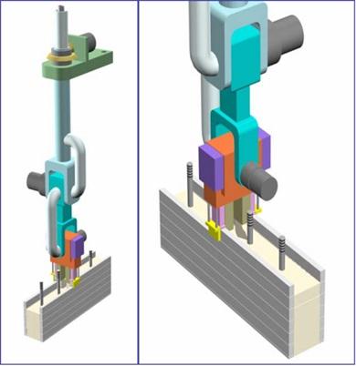 Рисунок 14. Сопловой узел для одновременного устройства внешних и внутреннего слоев конструкции и выполнения армирования