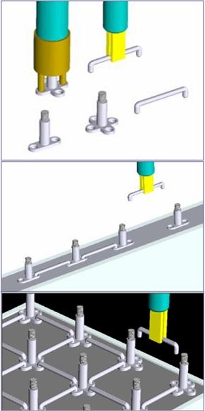 Рисунок 6. Элементы армирования и процесс армирования стен и колонн