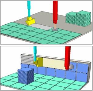 Рисунок 7. Автоматическая укладка плитки